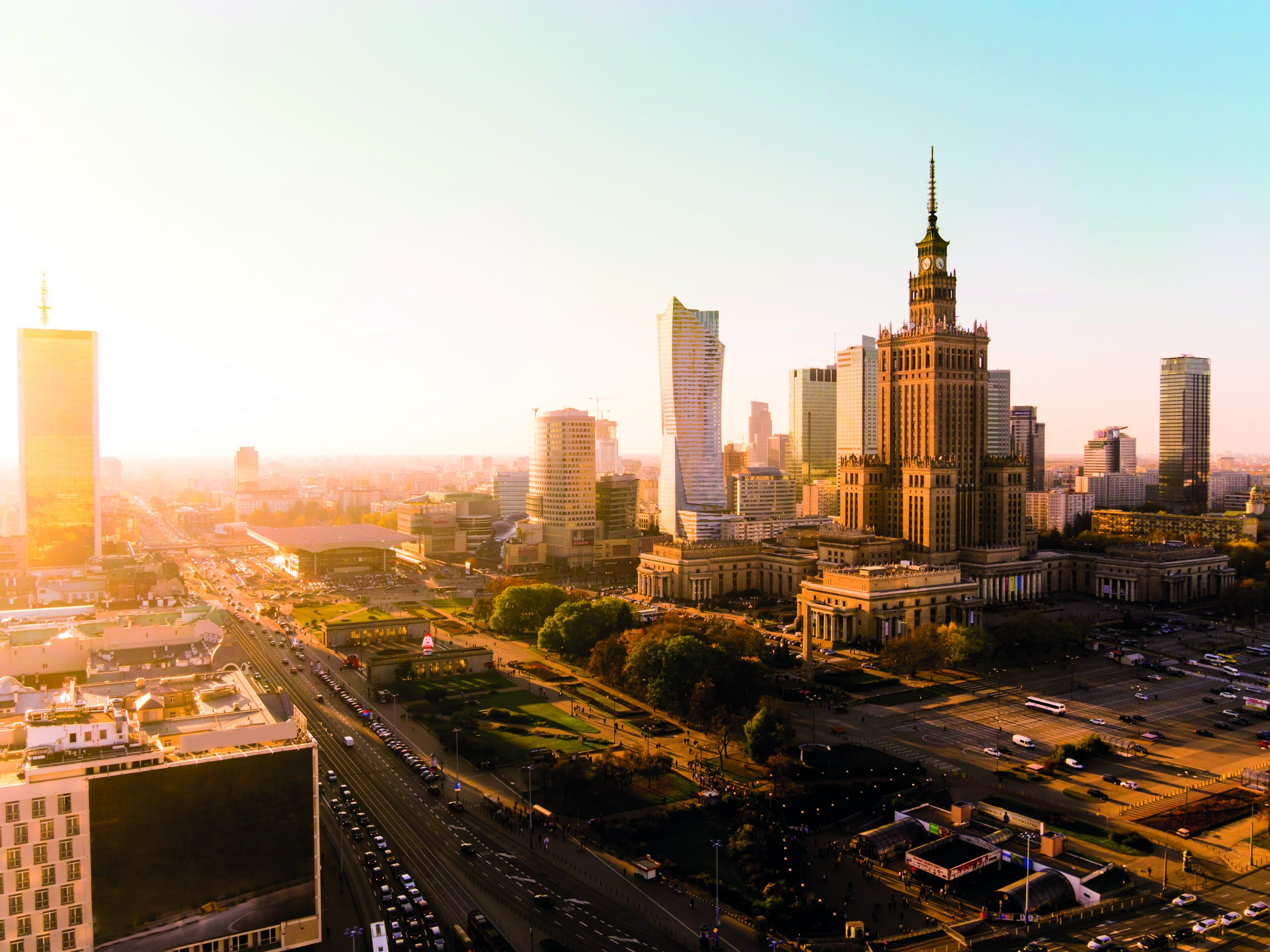 Sun setting over the Palace of Culture and Science and rest of the city in Warsaw, Poland